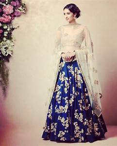 Royal blue lehenga with floral embroidery for reception