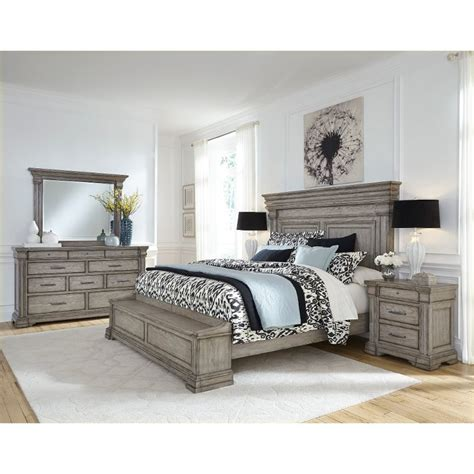 classic traditional gray  piece king bedroom set