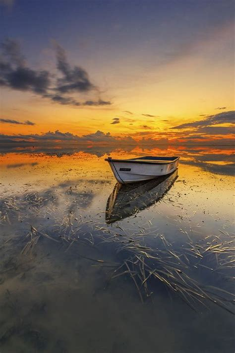 beautiful morning reflection photography  boat water