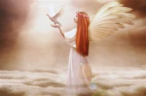 Angels, Pigeons, Redhead, Girl, Wings, Clouds, Fantasy, Girls, Angel, Wallpapers, Hd, Desktop, And