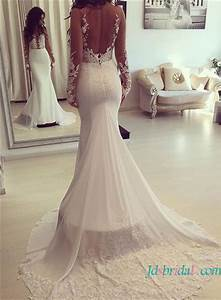h1629 sexy sheer back illusion lace mermaid wedding dress With sexy back wedding dress