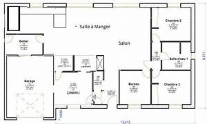 Maison 120m2 Plain Pied : plan maison plain pied 120m2 4 chambres ~ Melissatoandfro.com Idées de Décoration