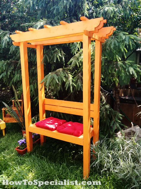 build  garden arbor  bench howtospecialist