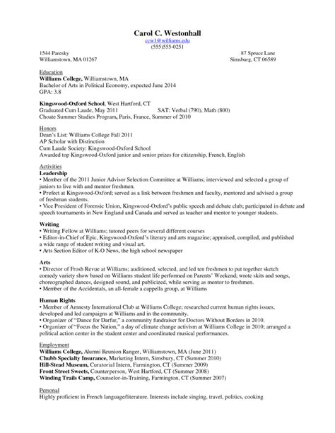 Resume Template For College Sophomore by Freshman Resume Template Resumes Design