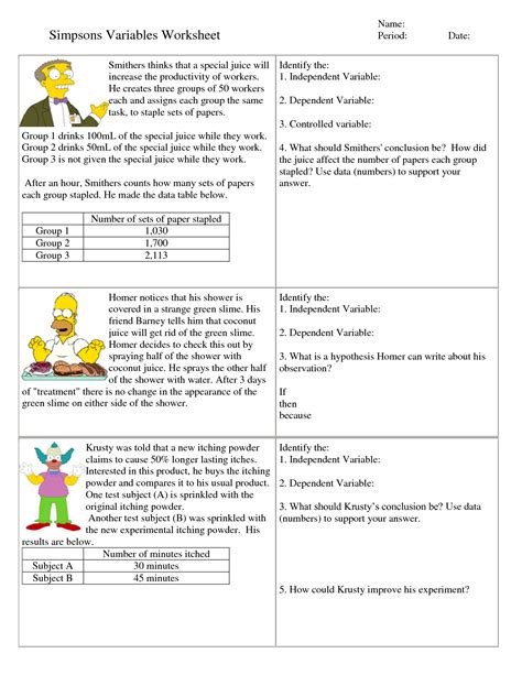 independent and dependent variables math worksheet 6th