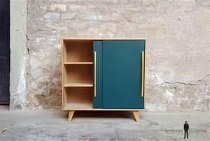 Meuble Bleu Canard : meuble vintage en bois portes coulissantes bleu canard ~ Teatrodelosmanantiales.com Idées de Décoration