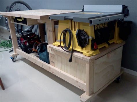 table saw workbench woodworking plans latest project table saw workbench techtalk speaker