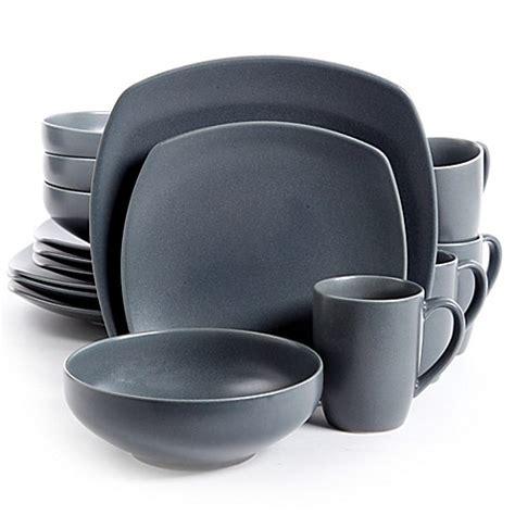 Viereckiges Geschirr by Gibson Paradiso 16 Square Dinnerware Set In Grey
