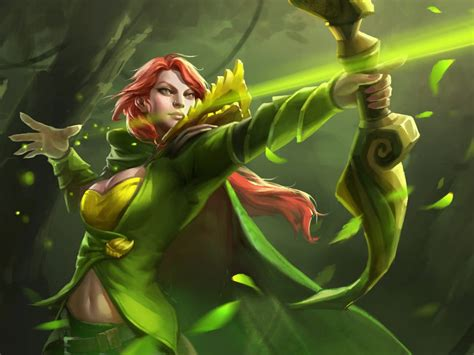 dota  hero windranger shooting  bow  arrow forest