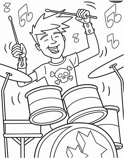 Coloring Pages Band Rock Roll Drum Boy