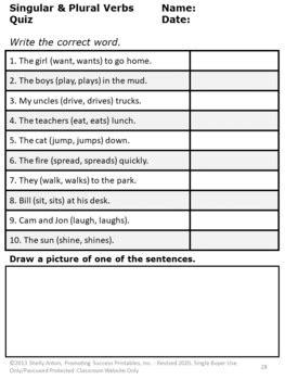singular  plural verbs task cards verb worksheets