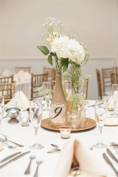 Diy Wine Bottle Centerpiece With Hydrangeas And Blush