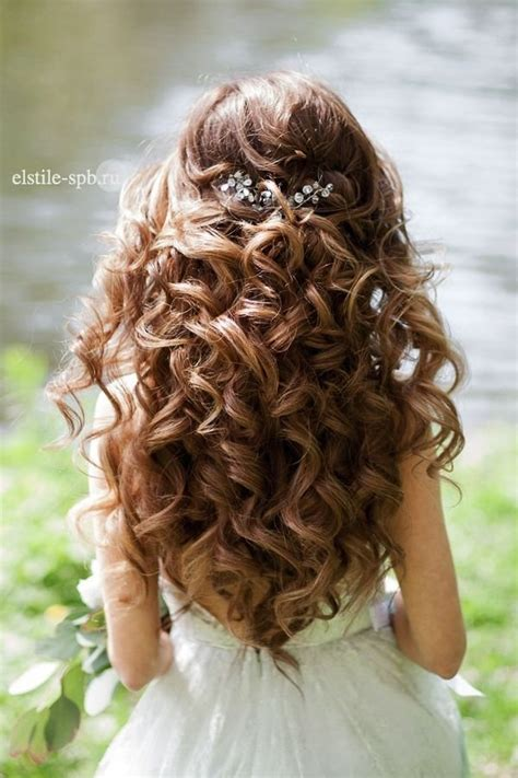 curled hairstyles for long hair half up hairstyle for