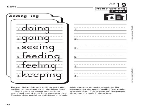 Home Spelling Practice Grade 1 Adding Ing Worksheet For 1st  2nd Grade  Lesson Planet