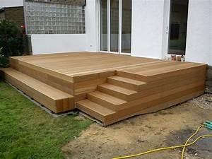 Holzterrasse mit stufen draussen pinterest for Holz terrasse