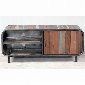 Meuble Industriel Vintage : meuble tv 1 porte 2 niches en m tal et bois de bateau recycl pas cher ~ Nature-et-papiers.com Idées de Décoration