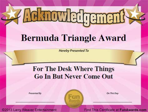 funny office awards  printable award certificates