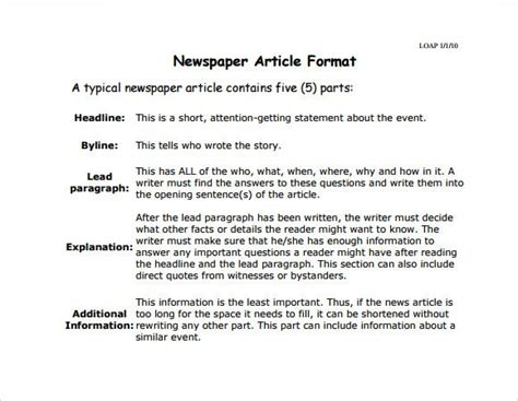 newspaper article template    documents