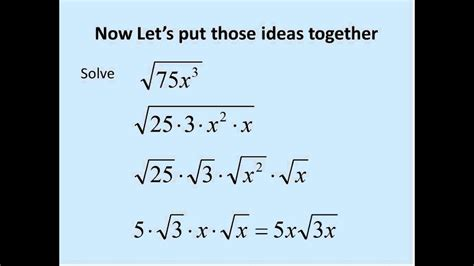 square roots  variables simplifying math youtube