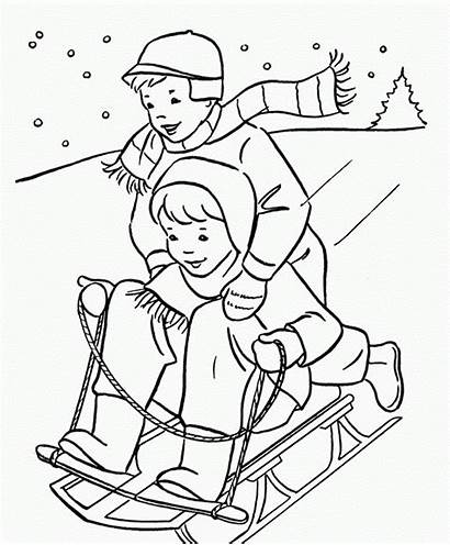 Coloring Winter Pages Printable Sledding
