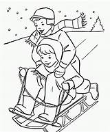 Winter Coloring Pages Printable Sledding sketch template