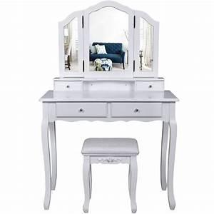 Coiffeuse 3 Miroirs : la boutique en ligne coiffeuse bois avec 3 miroirs 4 tiroirs et tabouret table maquillage blanc ~ Teatrodelosmanantiales.com Idées de Décoration