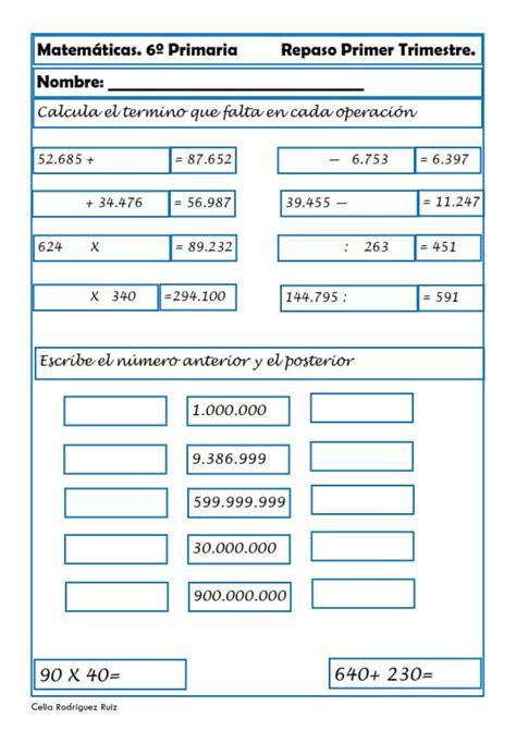 Ejercicios de Matemáticas para Sexto de Primaria Niños 11