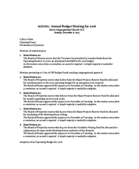 budget meeting agenda template   word