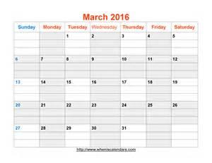 March 2016 Calendar Printable Template