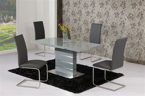 high glass dining table extending grey high gloss dining table and 4 grey chairs