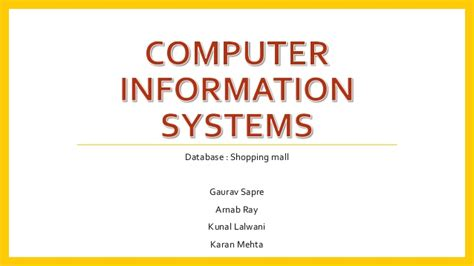 Computer Information Systems Shopping Mall Mis