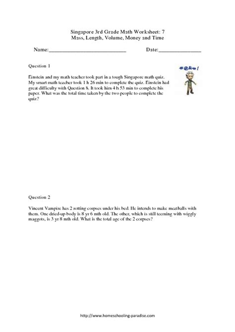 Singapore Math Worksheets 2nd Grade  Free Maths Worksheets For Primary 3 Singapore 1000 Ideas