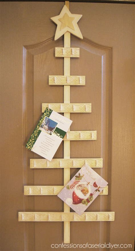 door hanging christmas card holder how to make a christmas tree card holder confessions of a serial do it yourselfer