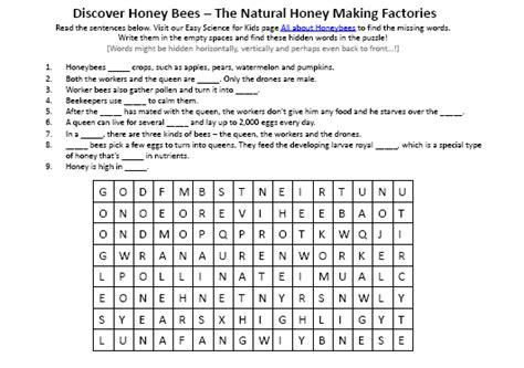 honey bees hidden words printable worksheet picture easy