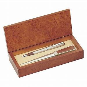 personalized brown leather letter opener with pen gift set With pen letter opener gift sets
