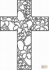 Coloring Pages Printable Cross Flowers Craft Adult Crosses Sheets Adults Printables Flower Teens Christmas Marys Korner Easter Religious Posted Am sketch template