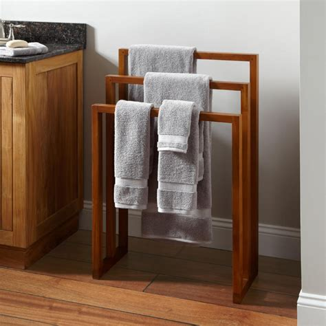 hailey teak towel rack towel holders bathroom accessories bathroom