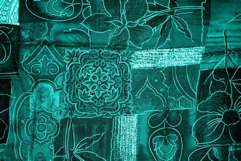 teal patchwork fabric texture picture free photograph