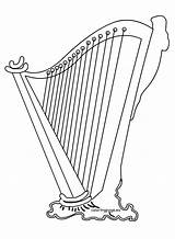 Harp Irish Clipart Coloring St Patrick Patricks sketch template