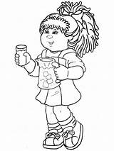 Cabbage Patch Coloring Dolls Characters Drawing sketch template