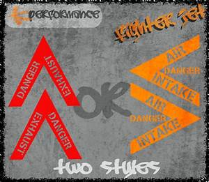 2 x Fighter Jet Style Car Stickers - performance turbo