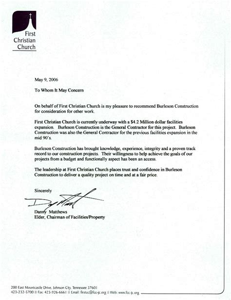 letters  recommendation burleson construction general