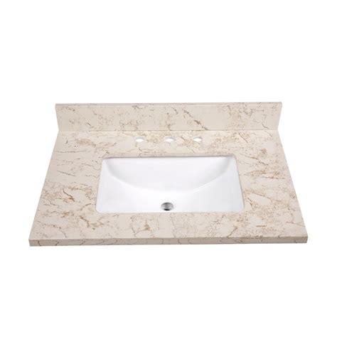 shop allen roth marbled beige quartz undermount single