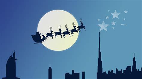 wallpaper reindeer chariot santa claus christmas eve
