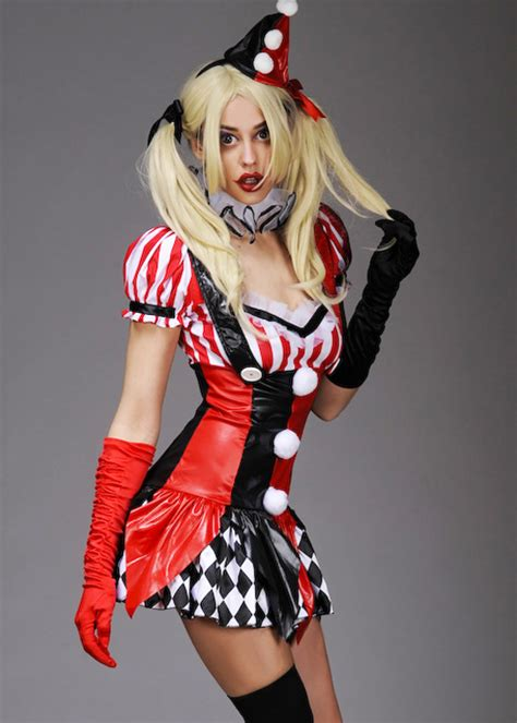 womens gothic harley quinn style dress costume ladies sexy