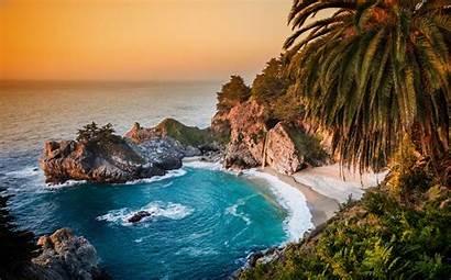 Beach Nature Sea Trees Palm Waves Desktop