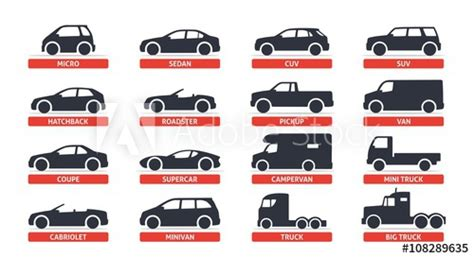 Car Type And Model Objects Icons Set, Automobile. Vector
