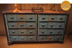 Armoire A Tiroir : meuble tiroirs industriel ~ Edinachiropracticcenter.com Idées de Décoration