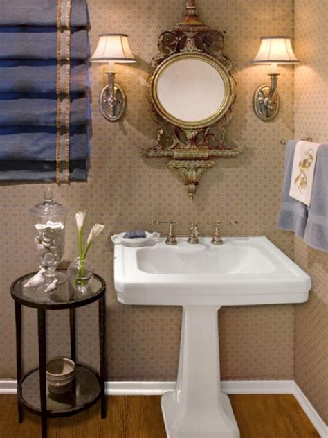 elegant powder room  stunning pedestal sink  ornate