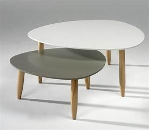 Table Basse Blanc Gris : table basse gigogne laqu e blanc et gris egon ~ Teatrodelosmanantiales.com Idées de Décoration